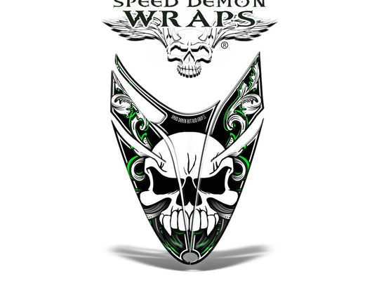 RMK Dragon Vinyl GRAPHICS WRAP KIT for Snowmobile Sled HOOD Skullen Green - Speed Demon Wraps