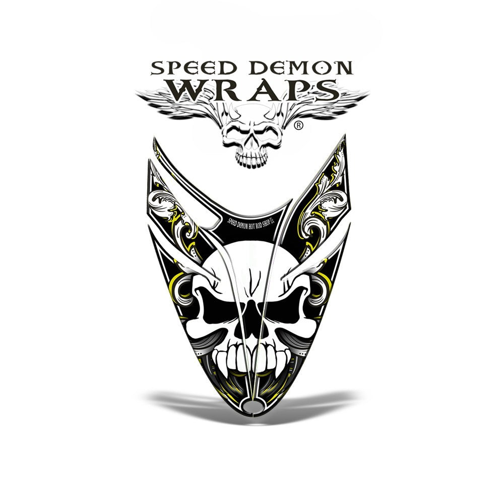 RMK Dragon HOOD GRAPHICS WRAP for Sleds and Snowmobiles Yellow Skullen - Speed Demon Wraps