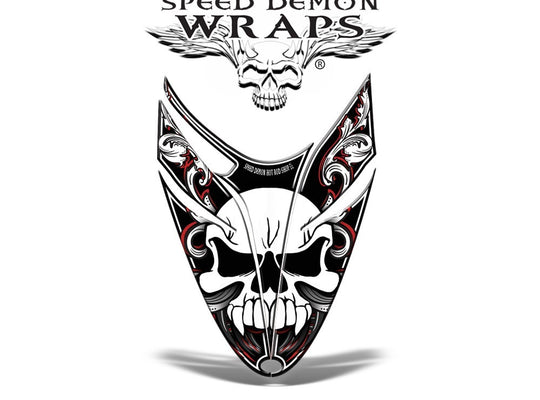 RMK Dragon HOOD GRAPHICS WRAP Kit for Snowmobiles and Sleds Skullen red - Speed Demon Wraps