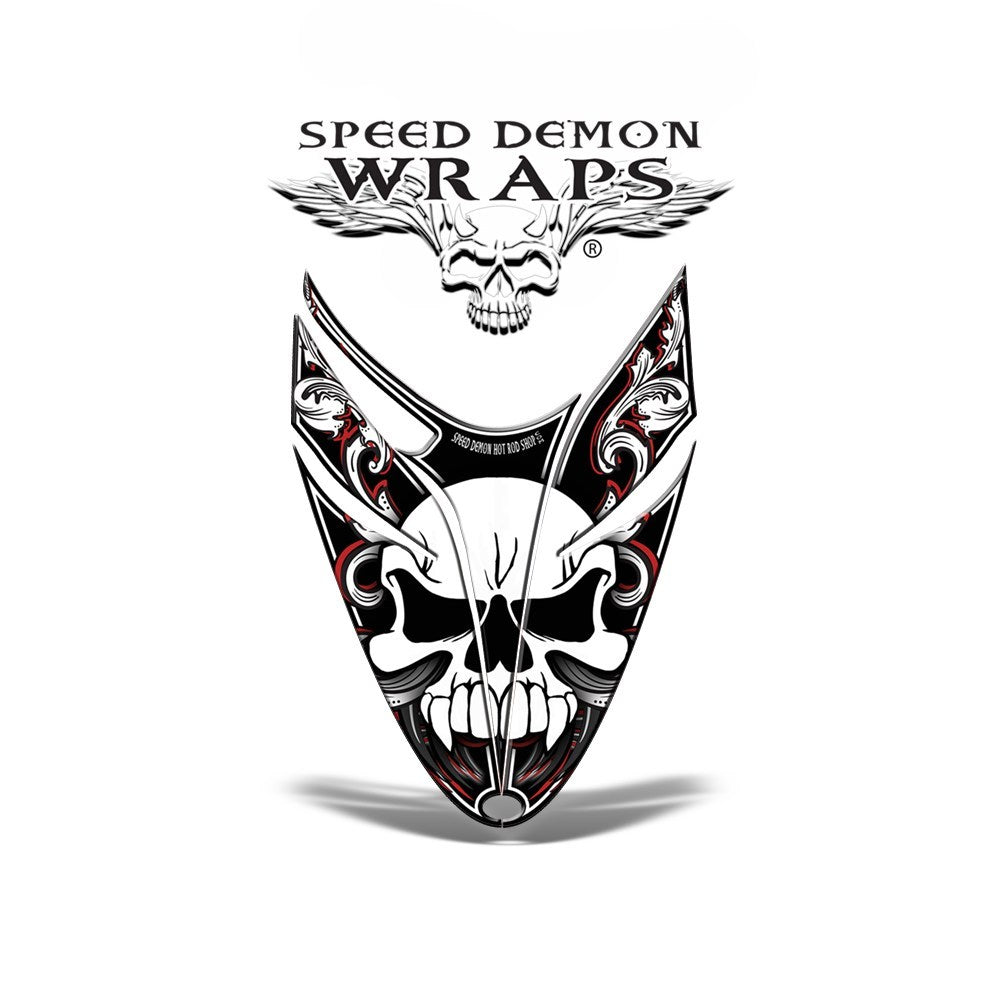 RMK Dragon VINYL GRAPHICS WRAP Kit for Polaris Snowmobiles and Sleds SKULLEN RED - Speed Demon Wraps