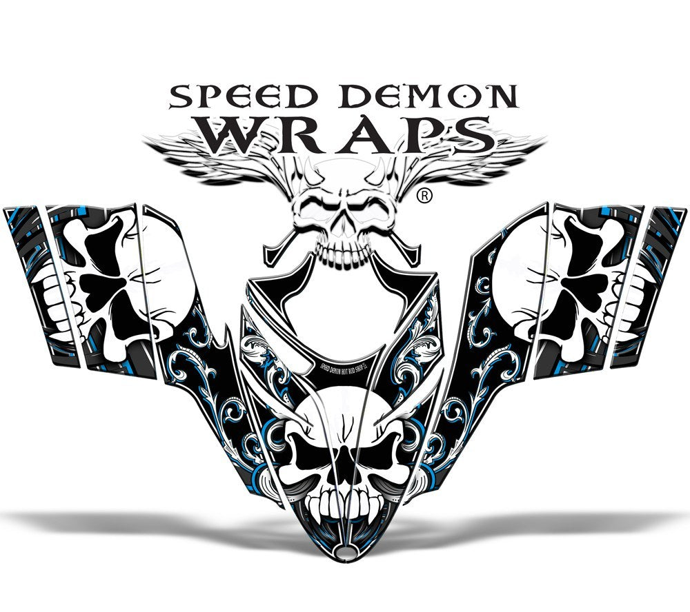 Polaris RMK Dragon Snowmobile Sled GRAPHICS WRAP DECAL Blue Skullen - Speed Demon Wraps
