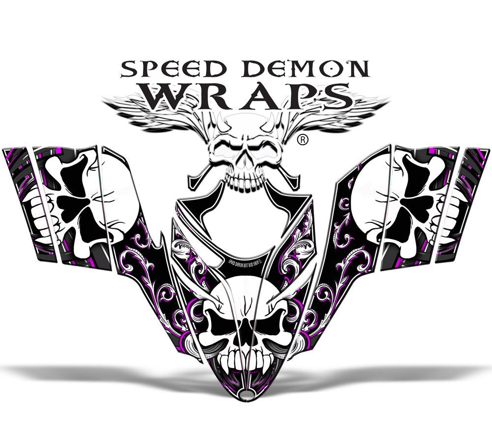 "RMK Dragon Snowmobile Sled GRAPHICS WRAP DECAL ""Pink Skullen"" for Polaris Dragon - Speed Demon Wraps"