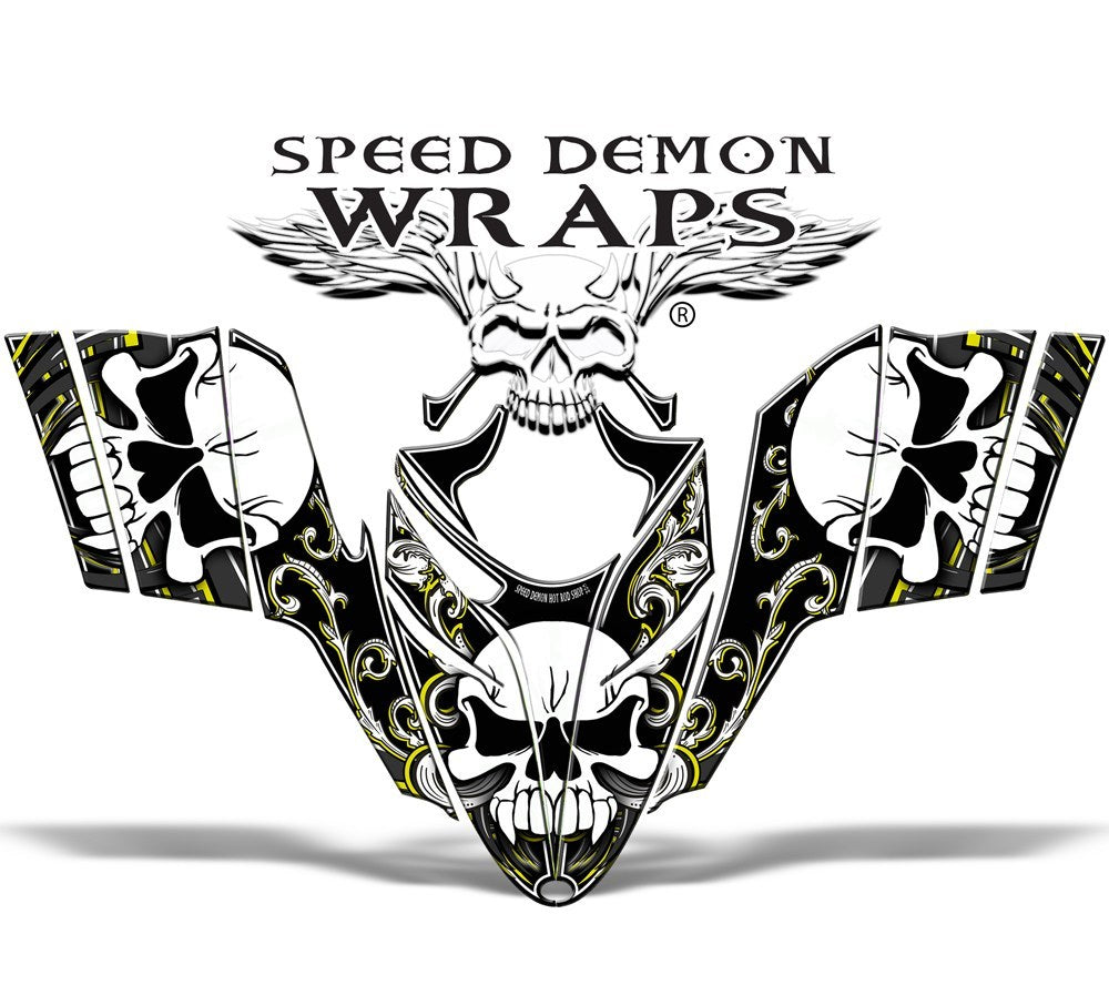 RMK Dragon GRAPHICS WRAP for Sleds and Snowmobiles Yellow Skullen - Speed Demon Wraps