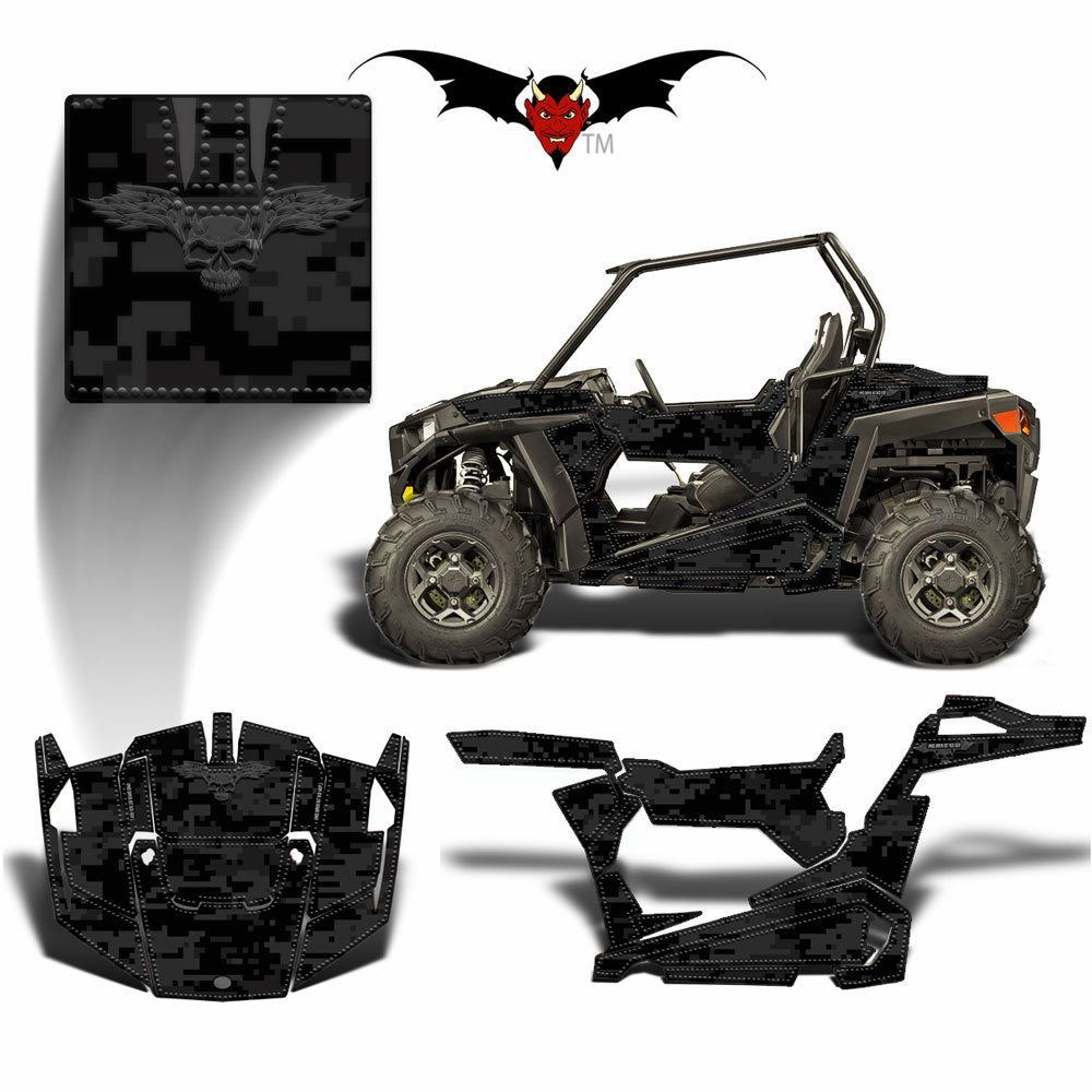 POLARIS RZR 900 TRAIL GRAPHICS WRAP BLACK DIGITAL CAMOUFLAGE - Speed Demon Wraps