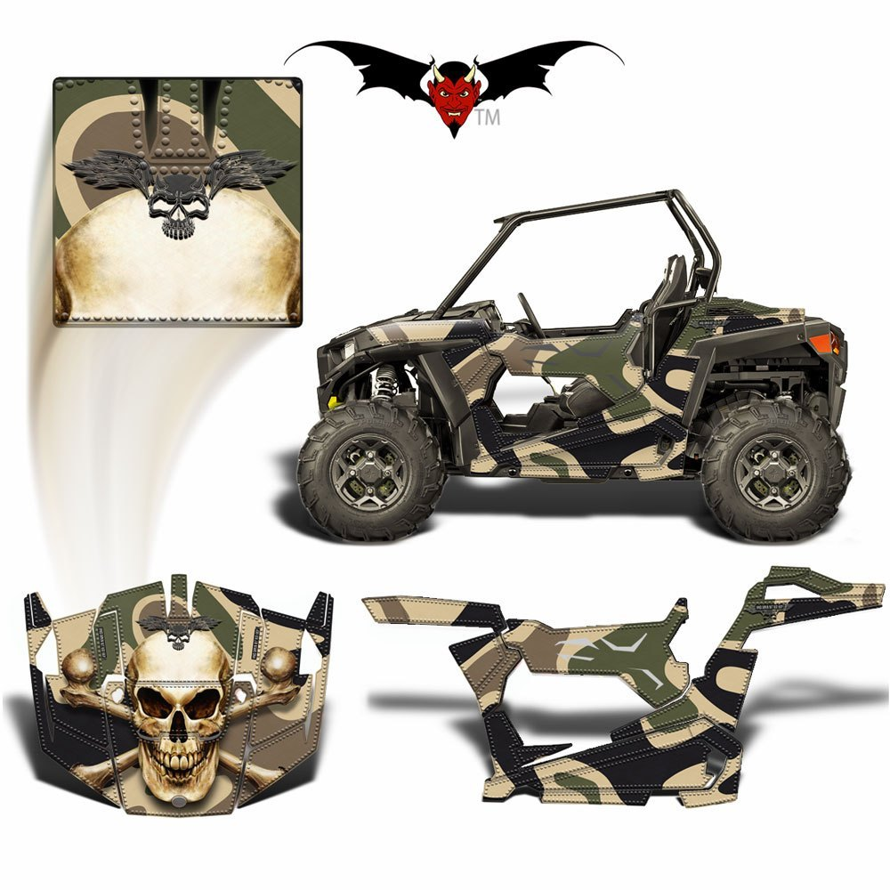 RZR 900 TRAIL GRAPHICS WRAP -  BONE COLLECTOR SKULL ON CUSTOM CAMOUFLAGE - Speed Demon Wraps