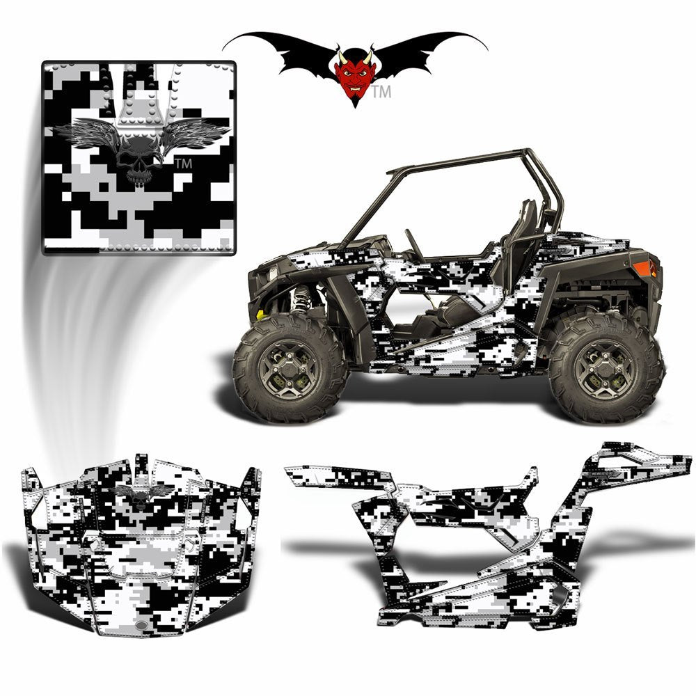 POLARIS RZR 900 TRAIL GRAPHICS WRAP SNOW DIGITAL CAMOUFLAGE - Speed Demon Wraps