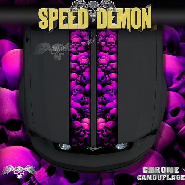 Mustang Pink Skull Crusher Racing Stripes - Speed Demon Wraps