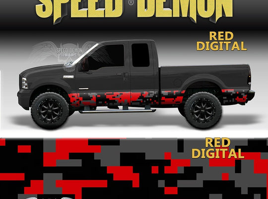 Red Digital Rocker Panel Wrap Camo Kit - Speed Demon Wraps