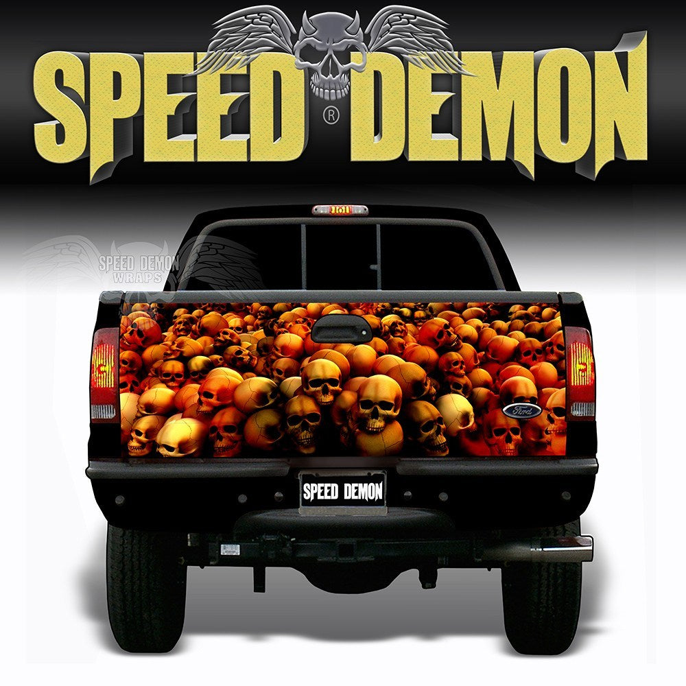 Skull Crusher Tailgate Wraps Red