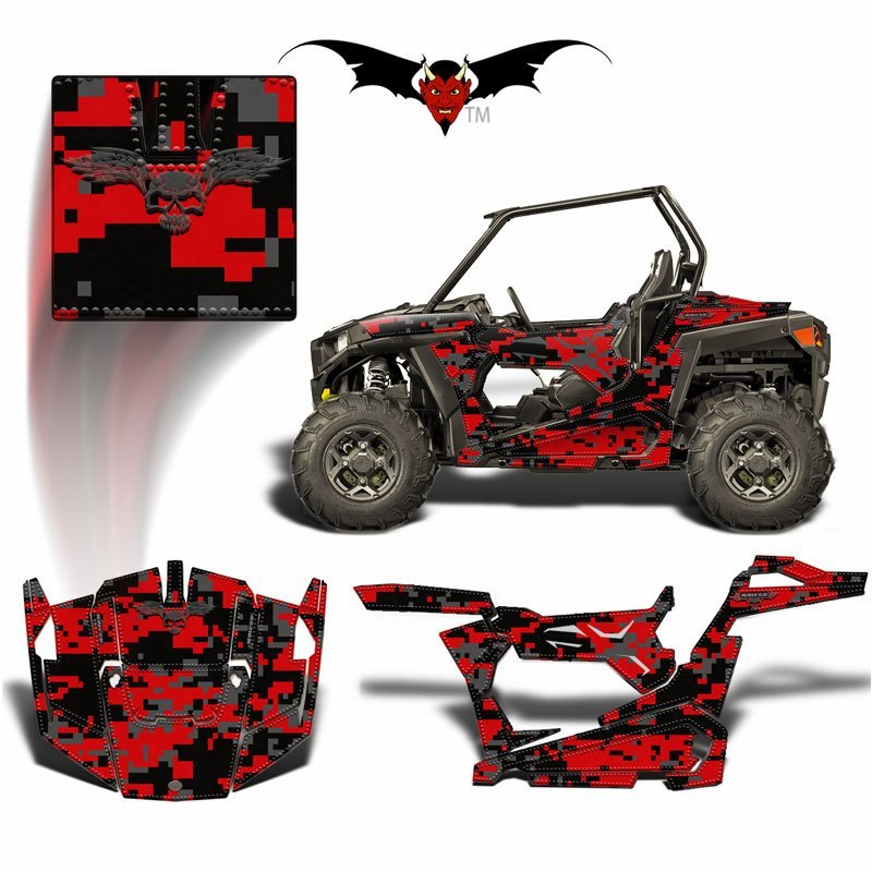 RZR 900 S GRAPHICS WRAP -  RED AND BLACK DIGITAL CAMOUFLAGE - Speed Demon Wraps