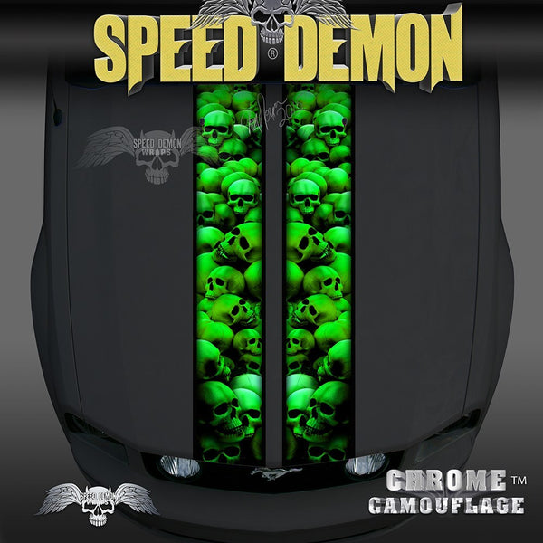 Mustang Green Skull Crusher Racing Stripes - Speed Demon Wraps
