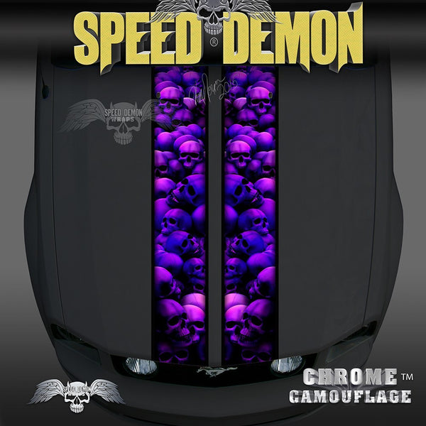 Mustang Purple Skull Crusher Racing Stripes - Speed Demon Wraps