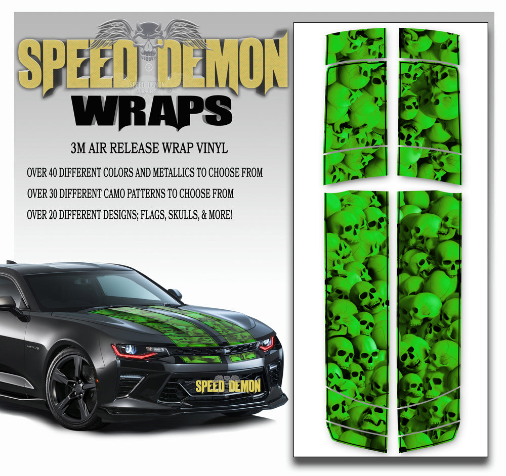 Camaro Stripes - Green Skulls with Black Pinstripe 2016-2017 V6
