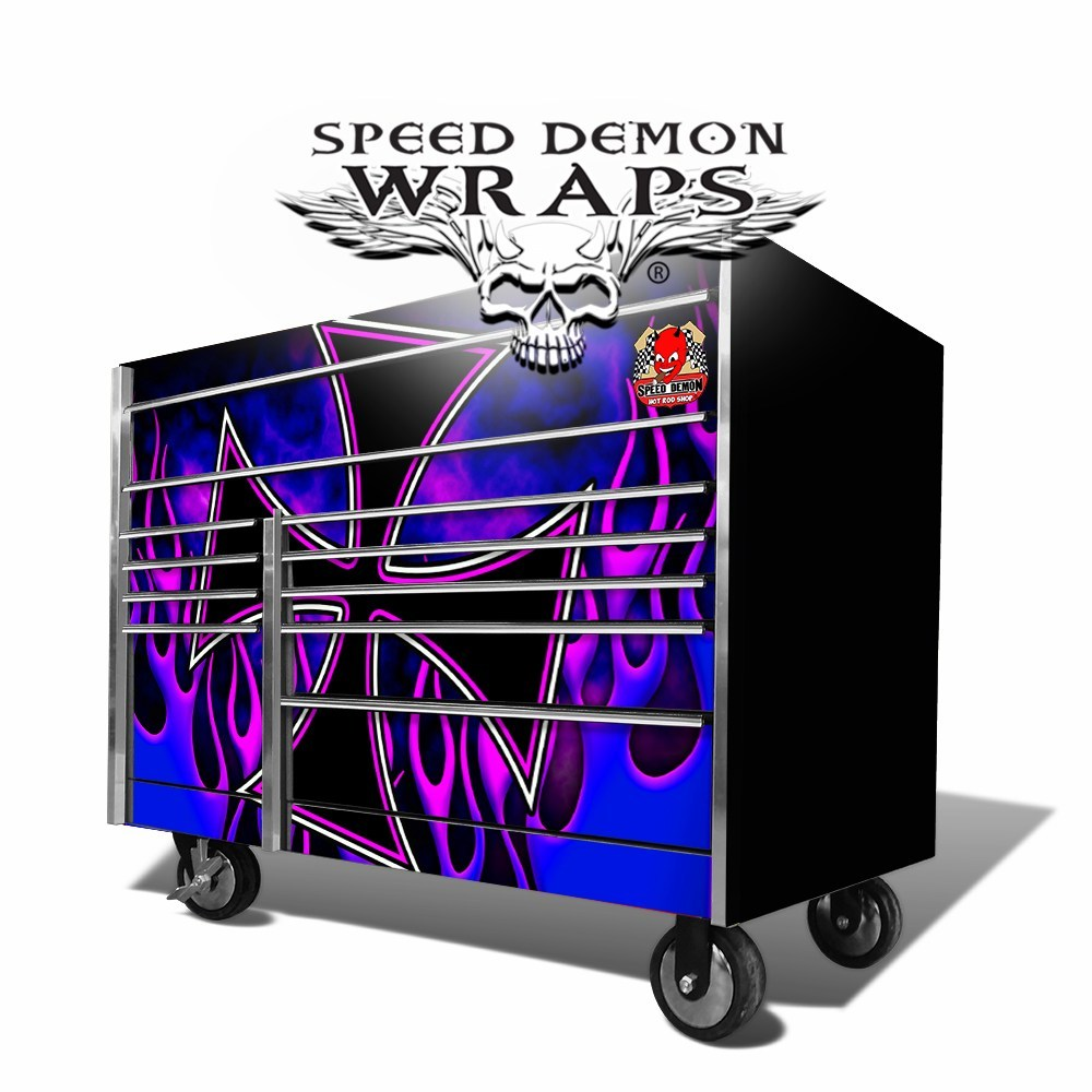 Snap On Tool Box Graphics -Wrap-Skins Hot Rod Flames Iron Cross Blue-Purple