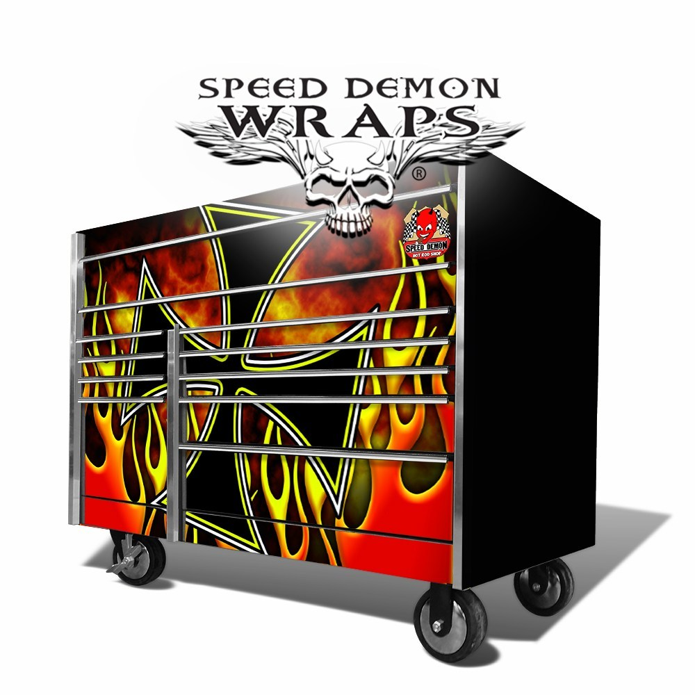 Snap On Toolbox Graphics Wrap-Skins Iron- Cross Hot Rod Flames