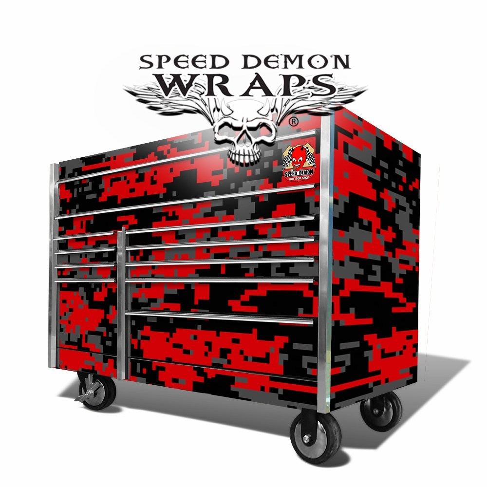 Snap On Too Box Graphics Wrap Skins Red-Digital Camouflage
