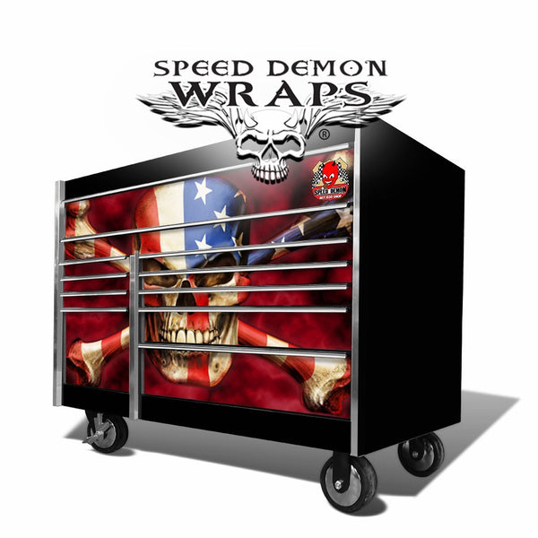 Snap-On Toolbox Wrap American Flag Patriot Skull