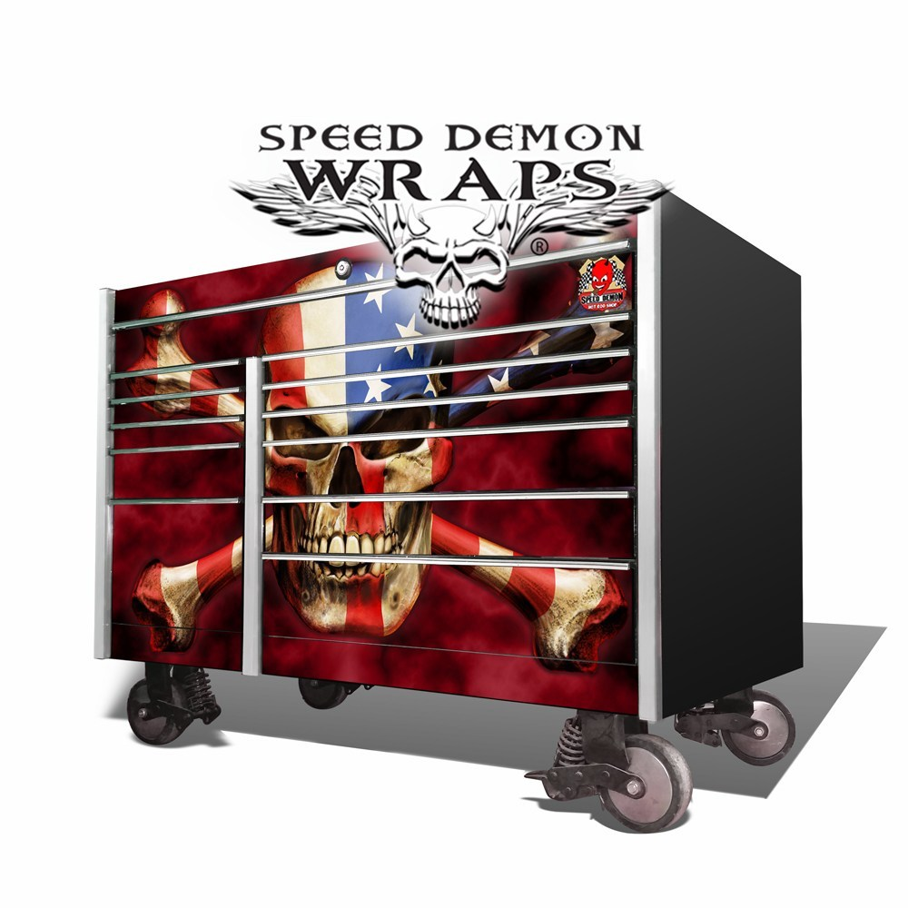 Snap-On Toolbox Wrap American Flag Skull KRL-7002