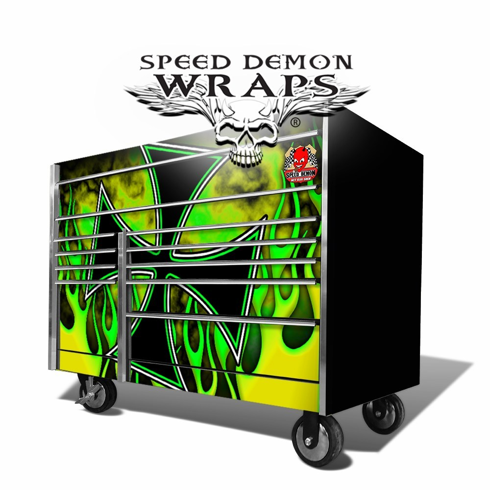 Snap-On Toolbox Wraps Hot-Rod Flames Green-Yellow