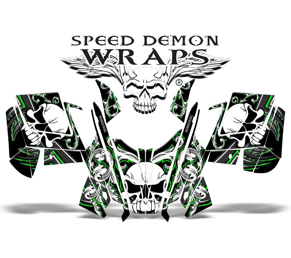 RMK Dragon Vinyl GRAPHICS WRAP KIT for Snowmobile Sled Skullen Green - Speed Demon Wraps