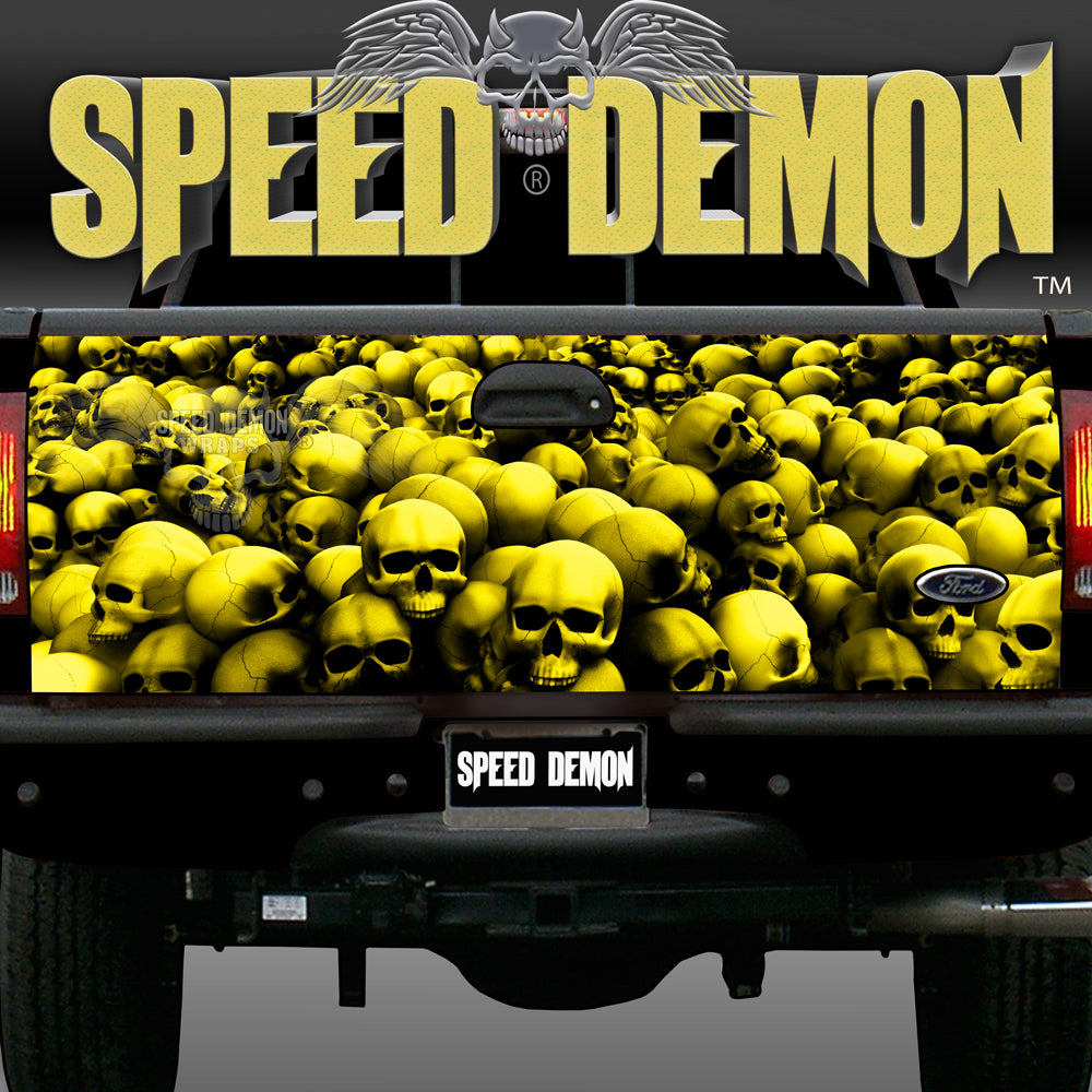 Tailgate Wraps Skulls Yellow