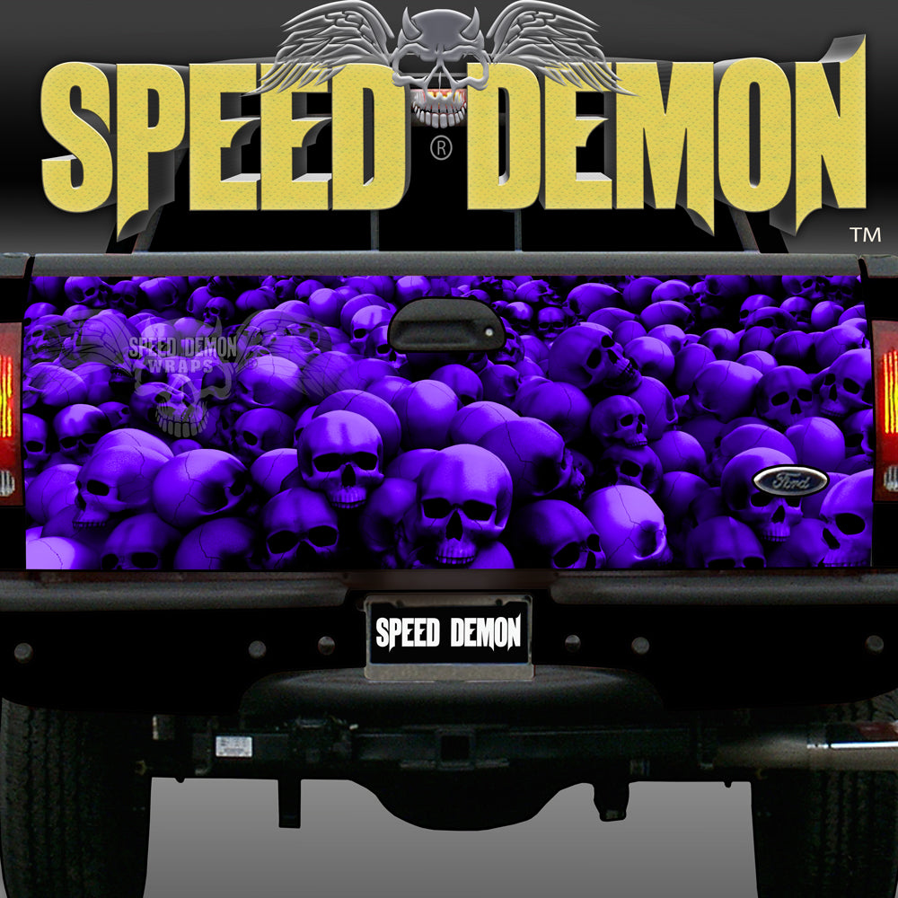 Tailgate Wraps Skulls Purple
