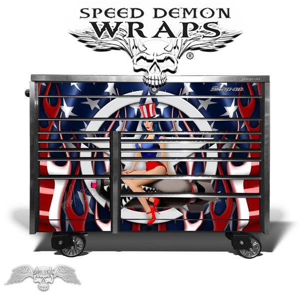 Toolbox Wrap Snapon krl 1022 American Flag Flames Pinup