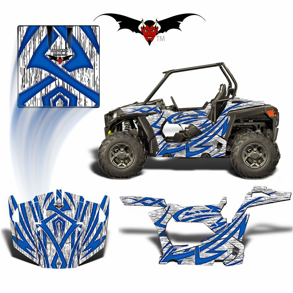 RZR 900 S GRAPHICS WRAP -  TRIBAL FURY BLUE - Speed Demon Wraps