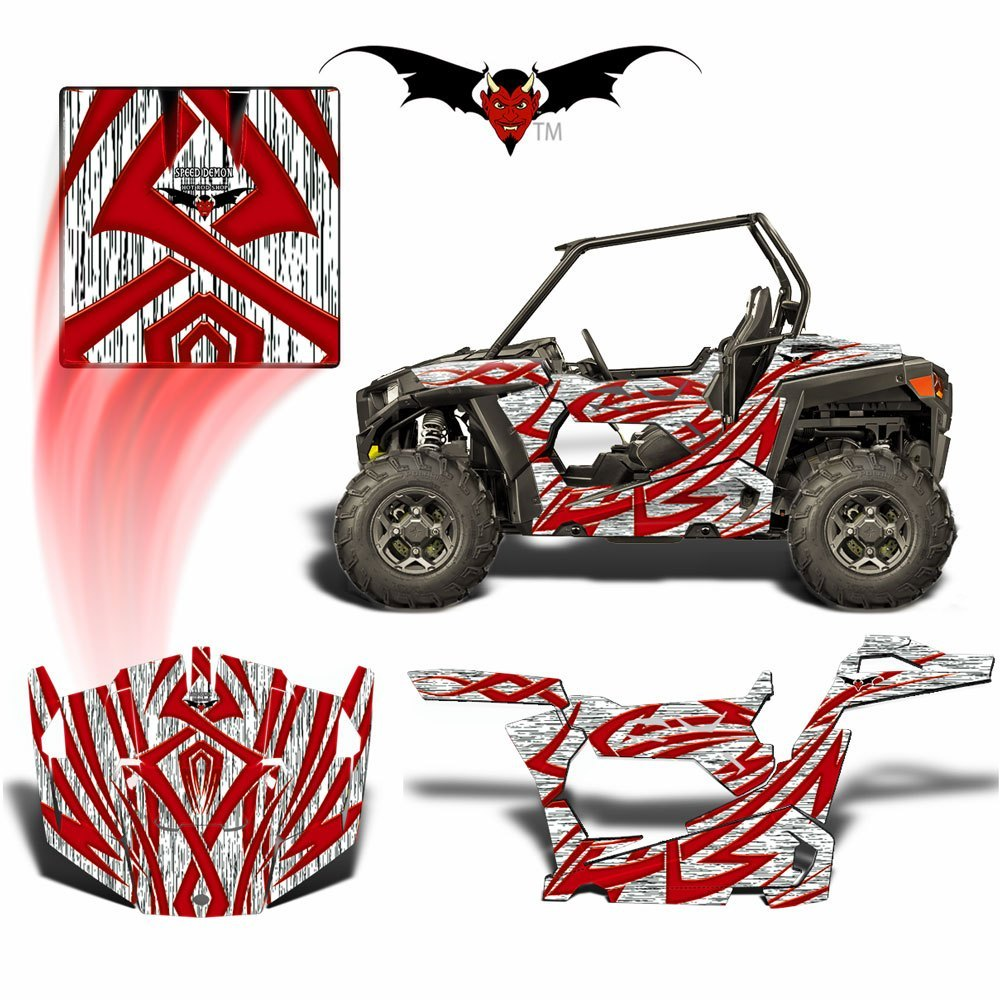 RZR 900 S GRAPHICS WRAP -  TRIBAL FURY RED - Speed Demon Wraps