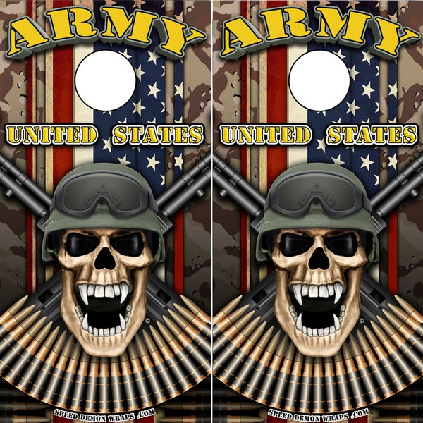 Army Soldier Cornhole Wrap - Military Skull Desert Camo Wrap - Speed Demon Wraps