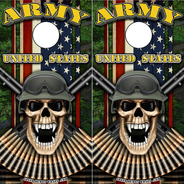 Army Soldier Cornhole Wrap - Military Soldier Skull Wrap fc - Speed Demon Wraps