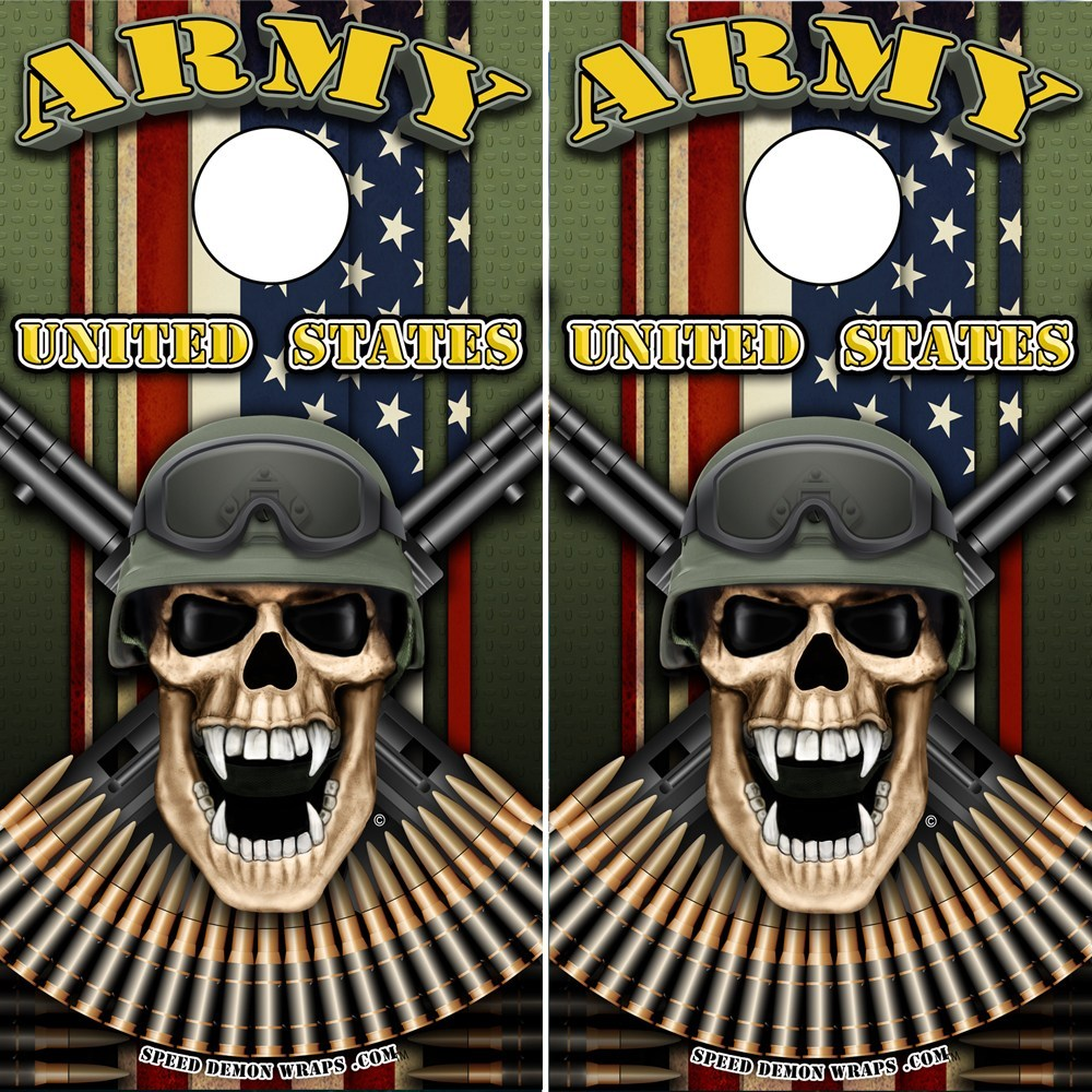 Army Soldier Cornhole Wrap - Military Skull Wrap - Speed Demon Wraps