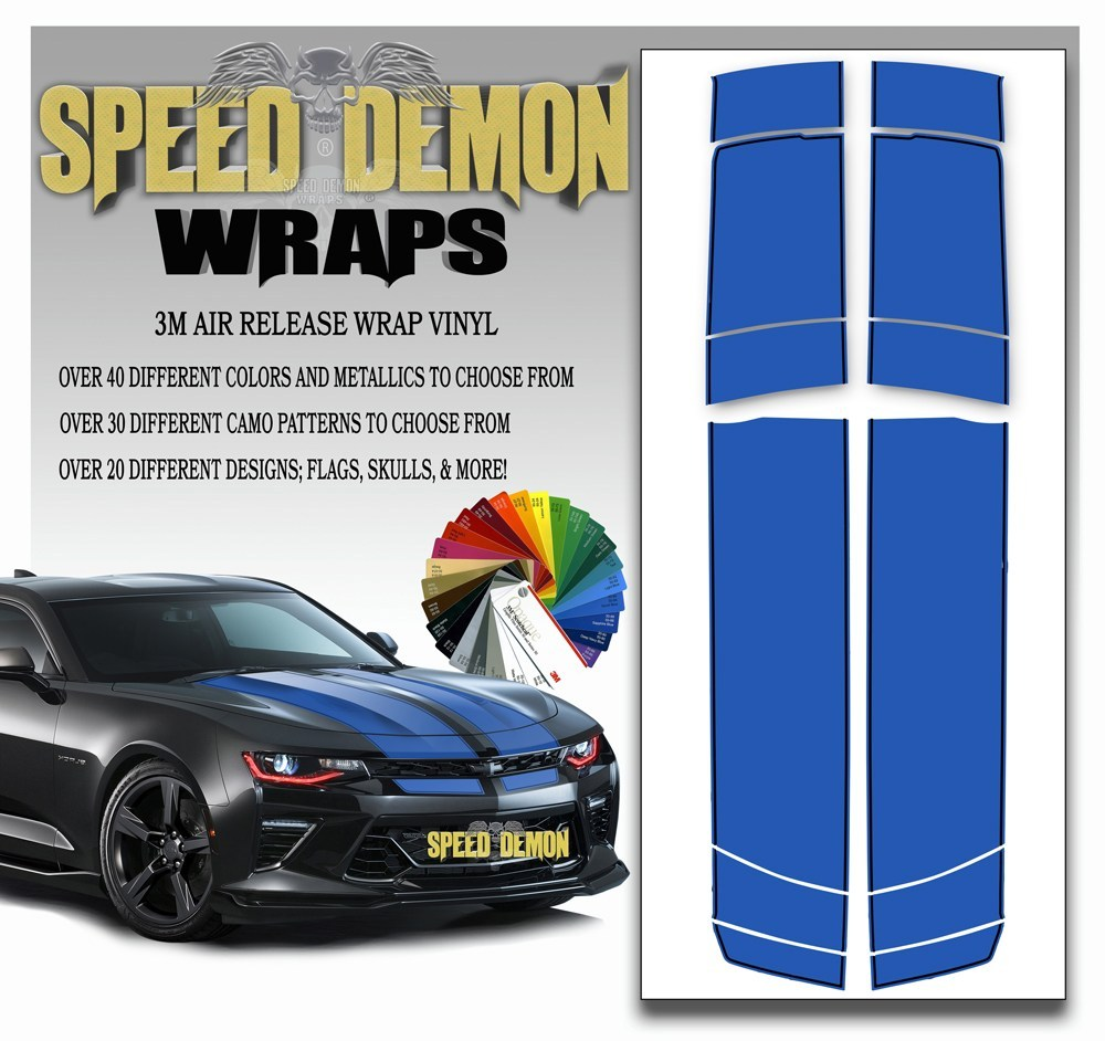 Camaro Stripes - Blue with Black Pinstripe 2016-2017 V6 - Speed Demon Wraps