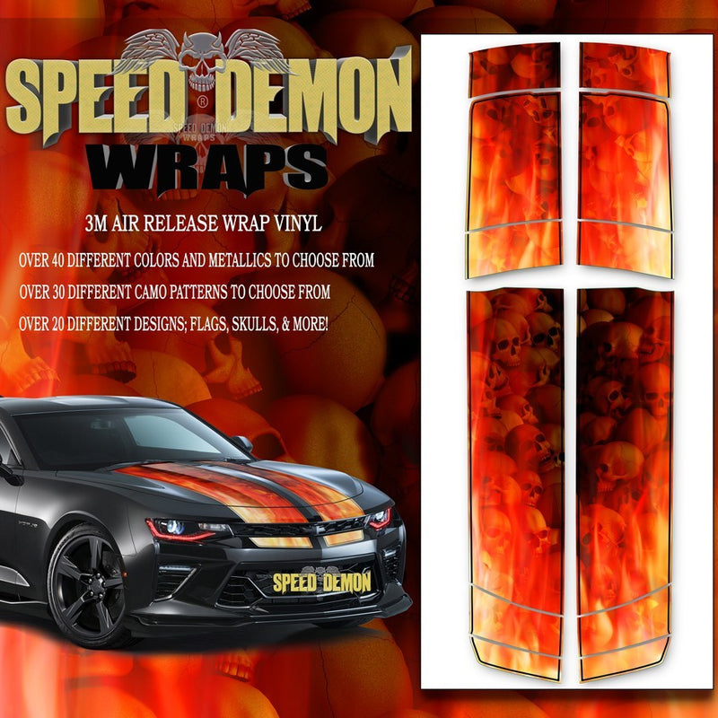 Camaro Stripes Flames Skulls Inferno W BLK PS 2016-2017 V6 - Speed Demon Wraps