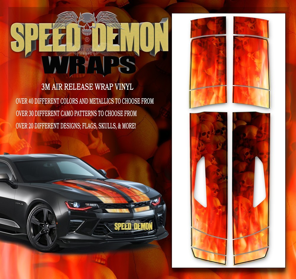 Camaro Stripes Flames Skulls Inferno W BLK PS 2016-2017 V8 - Speed Demon Wraps