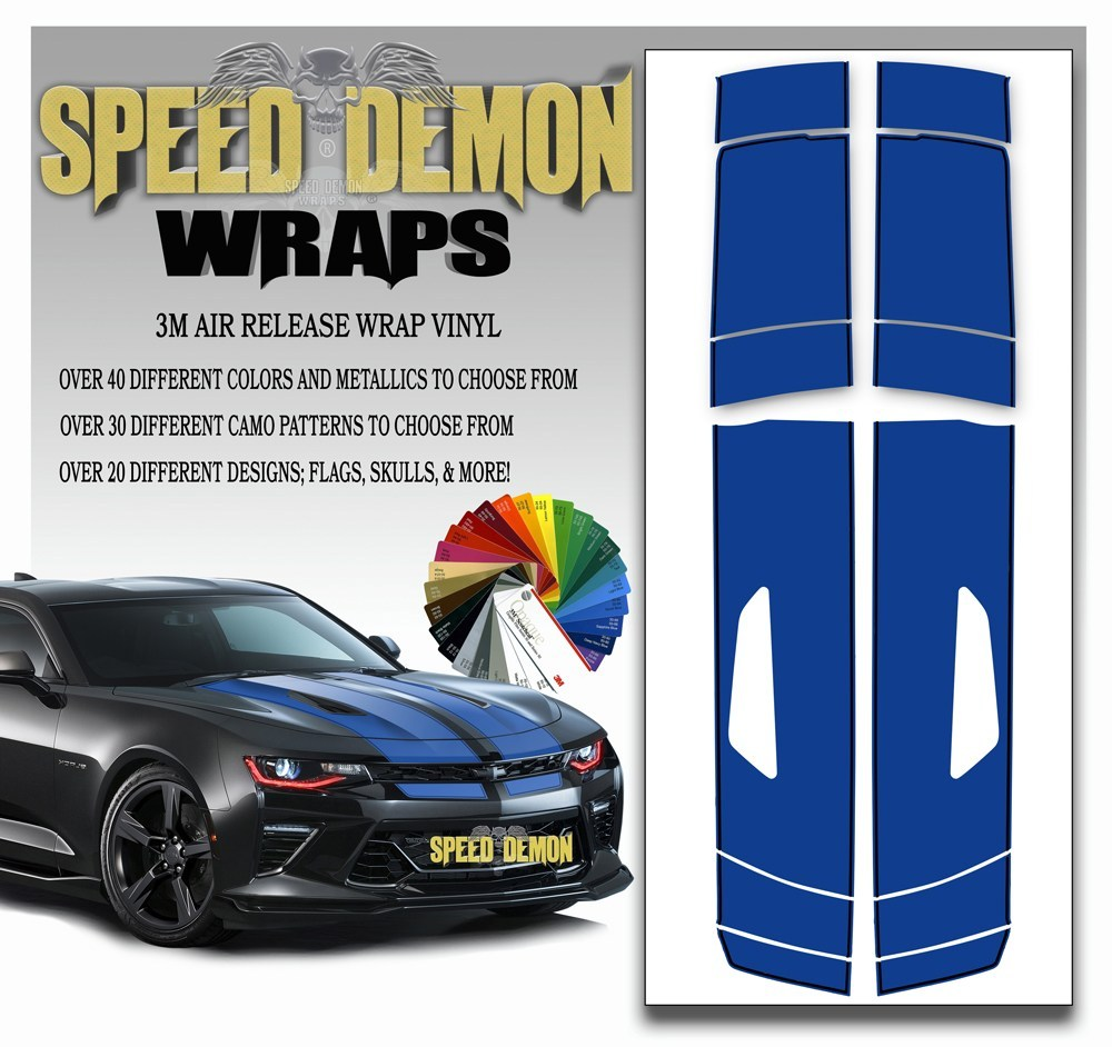 Camaro Stripes Blue with Black Pinstripe 2016-2017 V8 - Speed Demon Wraps