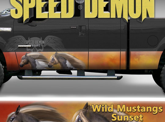 Rocker Panel Wrap Wild Mustangs - Speed Demon Wraps