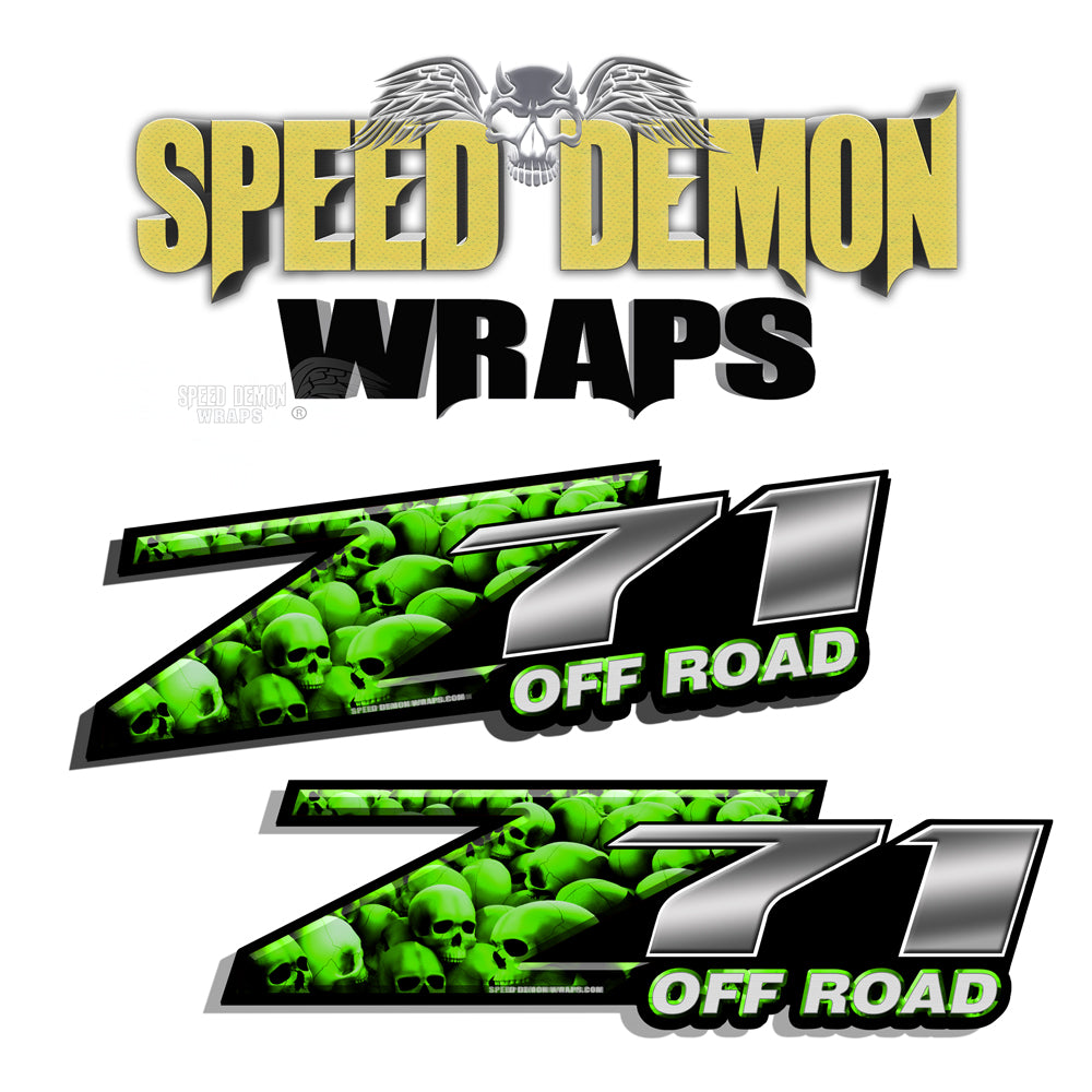 Skull Z71 Offroad Decals Green