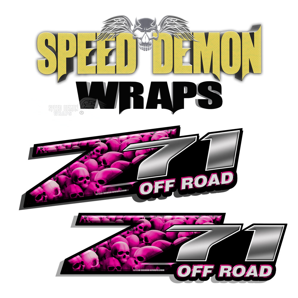 Skull Z71 OFF ROAD Decals Pink