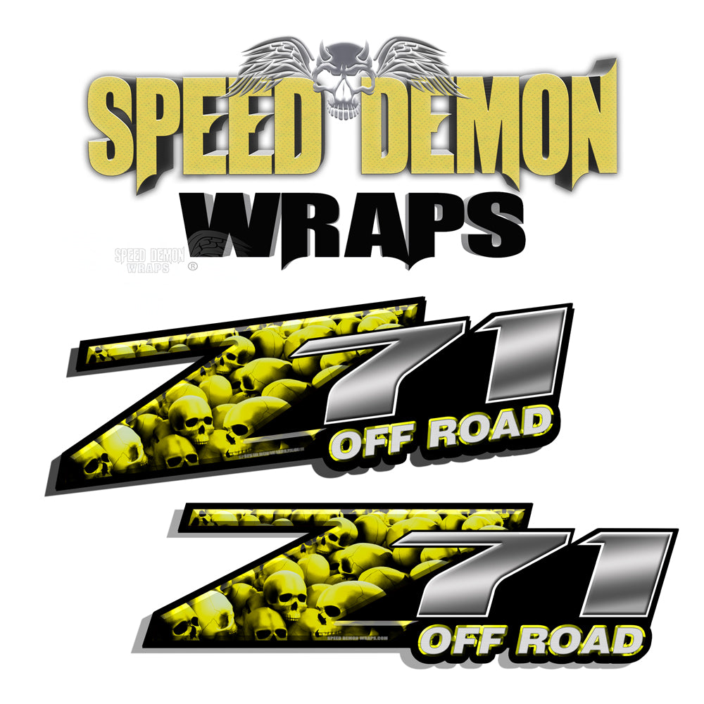Skull Z71 Offroad Decals Yellow