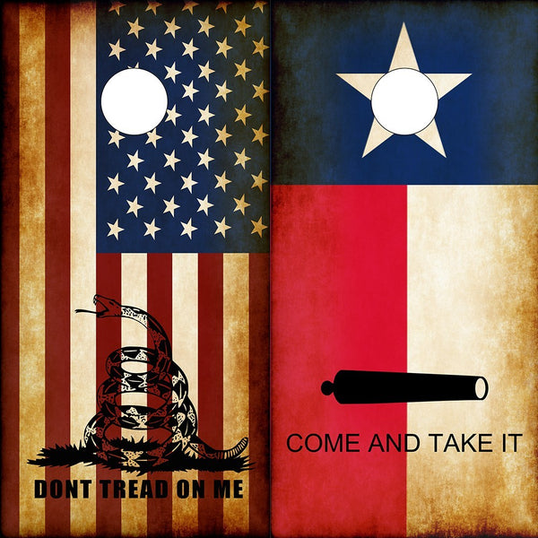 Cornhole Wraps Texas Flag American Flag Don't Tread on Me Molon Labe - Speed Demon Wraps