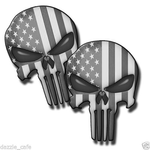 Punisher Skull Subdued American Flag Decals