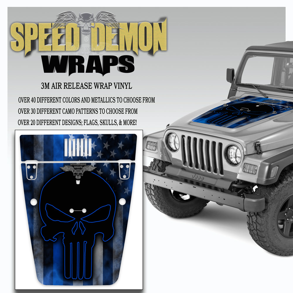 Jeep Punisher American Flag Hood Wrap