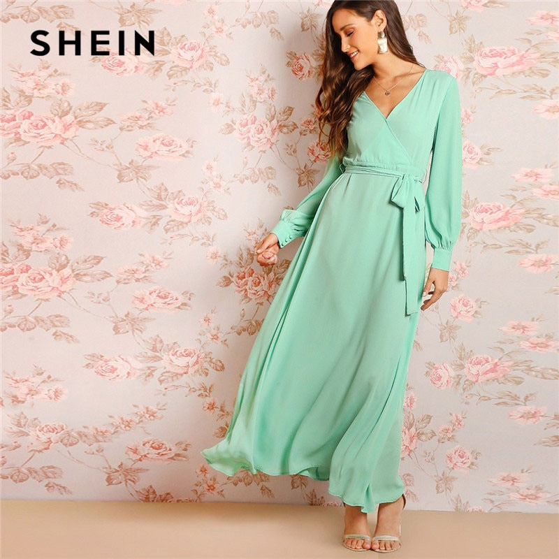 a71a4e8c15 SHEIN Green Bishop Sleeve Surplice Wrap Belted Women Maxi Dress Fit And  Flare Solid Long Sleeve