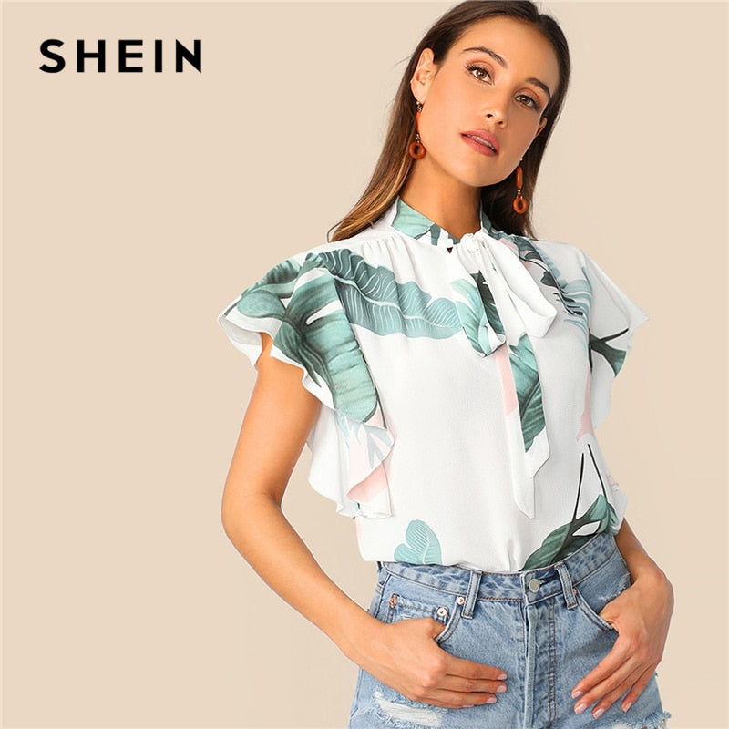 bfa4d4844d SHEIN Boho White Tie Neck Tropical Print Butterfly Sleeve Top Blouse Women  Summer Stand Collar Elegant