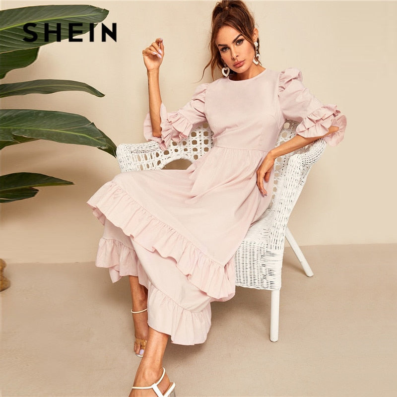33926d4c62 SHEIN Flounce Sleeve Layered Ruffle Hem Maxi Dress Women Elegant Pink High  Waist Summer Dress 2019