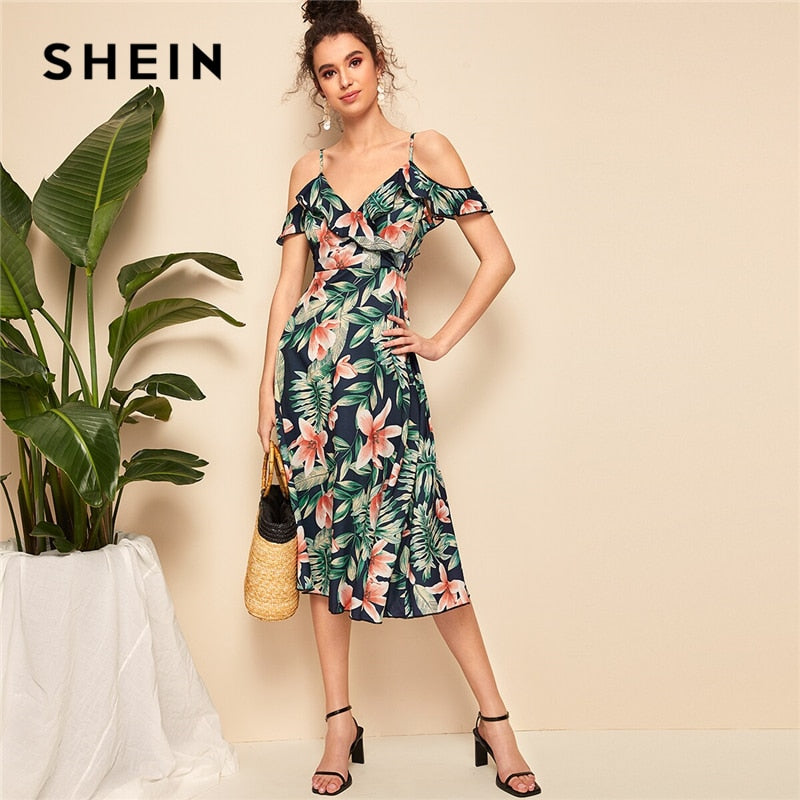 89b32accb6 SHEIN Boho Tropical Print Ruffle Trim Tie Back Cold Shoulder Straps Midi Dress  Women Fit and