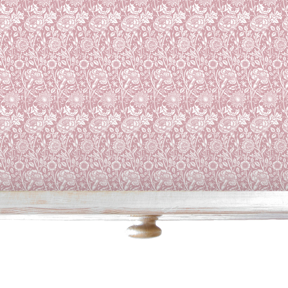 Simply Drawer Liners ROSE fragrance SCENTED Drawer Liners in PINK William Morris Design. Made in Britain.