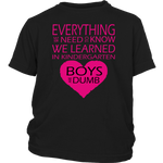 Everything we need to know we learned in Kindergarten. Boys are dumb. Youth Tshirt