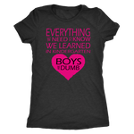 Everything we need to know we learned in Kindergarten. Boys are dumb. Unisex or Women's Triblend Tshirt